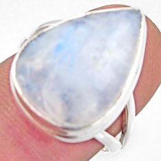 925 silver 13.15cts natural rainbow moonstone pear solitaire ring size 7 r17956