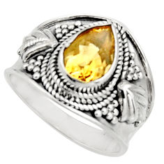 2.44cts natural yellow citrine 925 silver solitaire ring jewelry size 8 r18101
