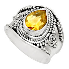 2.63cts natural yellow citrine 925 silver solitaire ring jewelry size 7.5 r18102