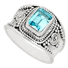 925 sterling silver 2.01cts natural blue topaz solitaire ring size 8.5 r18104