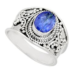2.23cts natural blue tanzanite 925 silver solitaire ring jewelry size 7 r18106