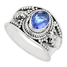 2.24cts natural blue tanzanite 925 silver solitaire ring jewelry size 8 r18114