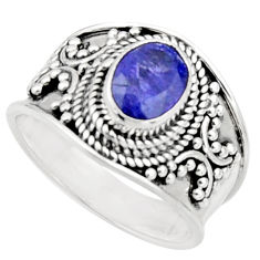 2.35cts natural blue tanzanite 925 sterling silver solitaire ring size 7 r18115