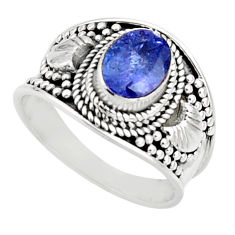 2.12cts natural blue tanzanite 925 silver solitaire ring jewelry size 7.5 r18119