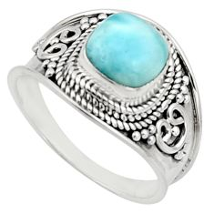 925 silver 3.25cts natural blue larimar solitaire ring jewelry size 8.5 r18132