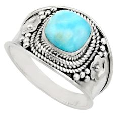 3.42cts natural blue larimar 925 silver solitaire ring jewelry size 9 r18135