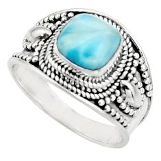 3.01cts natural blue larimar 925 silver solitaire ring jewelry size 8.5 r18138