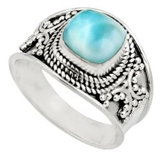 925 silver 3.04cts natural blue larimar solitaire ring jewelry size 8 r18139