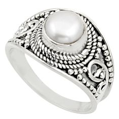 2.34cts natural white pearl 925 sterling silver solitaire ring size 7 r18142