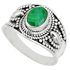 2.12cts natural green emerald 925 silver solitaire ring jewelry size 8 r18143