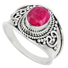 925 sterling silver 2.14cts natural red ruby oval solitaire ring size 7.5 r18144
