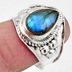 925 silver 4.42cts natural blue labradorite pear solitaire ring size 7.5 r18147