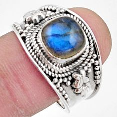 925 silver 3.01cts natural blue labradorite solitaire ring jewelry size 9 r18151