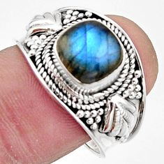 3.28cts natural blue labradorite 925 silver solitaire ring size 8.5 r18154