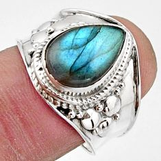 925 silver 4.26cts natural blue labradorite solitaire ring jewelry size 8 r18155