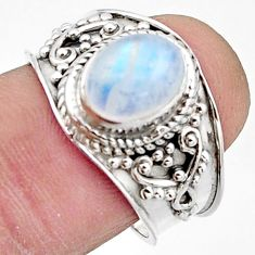 3.48cts natural rainbow moonstone 925 silver solitaire ring size 8 r18157