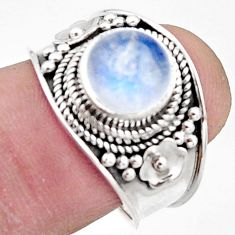 925 silver 2.97cts natural rainbow moonstone solitaire ring size 7.5 r18158