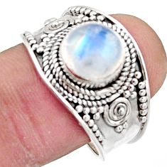 3.29cts natural rainbow moonstone 925 silver solitaire ring size 9 r18159