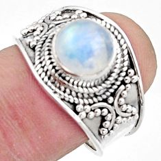 3.01cts natural rainbow moonstone 925 silver solitaire ring size 8 r18160