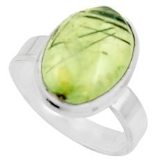 6.36cts natural green prehnite 925 silver solitaire ring jewelry size 7 r18161