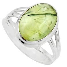 6.31cts natural green prehnite 925 silver solitaire ring jewelry size 8.5 r18163