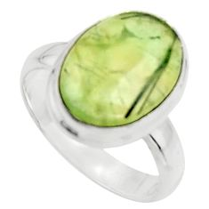 6.93cts natural green prehnite 925 silver solitaire ring jewelry size 6.5 r18165