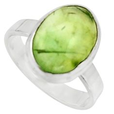 925 silver 6.36cts natural green prehnite solitaire ring jewelry size 8.5 r18166