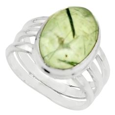 6.57cts natural green prehnite 925 silver solitaire ring jewelry size 7.5 r18167