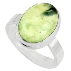 6.36cts natural green prehnite 925 silver solitaire ring jewelry size 8 r18168
