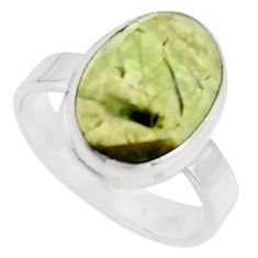 925 silver 6.36cts natural green prehnite solitaire ring jewelry size 7.5 r18170