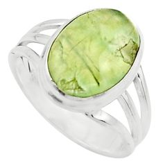 6.32cts natural green prehnite 925 sterling silver solitaire ring size 9 r18171