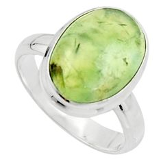 925 sterling silver 6.36cts natural green prehnite solitaire ring size 7 r18173