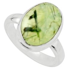 6.25cts natural green prehnite 925 silver solitaire ring jewelry size 8.5 r18174
