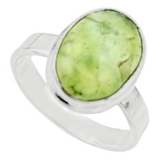 925 silver 6.36cts natural green prehnite solitaire ring jewelry size 8.5 r18175