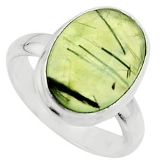 6.57cts natural green prehnite 925 silver solitaire ring jewelry size 6.5 r18176