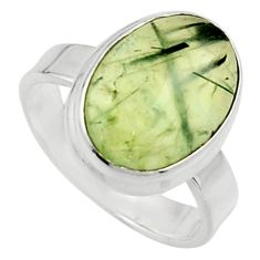 6.93cts natural green prehnite 925 silver solitaire ring jewelry size 6.5 r18177
