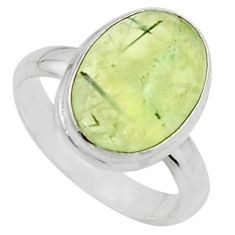 6.57cts natural green prehnite 925 silver solitaire ring jewelry size 8 r18178