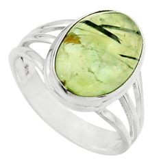 925 silver 6.02cts natural green prehnite solitaire ring jewelry size 8.5 r18179