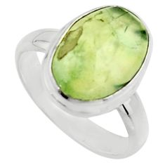 6.36cts natural green prehnite 925 silver solitaire ring jewelry size 8 r18180