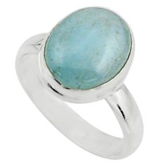5.13cts natural blue aquamarine 925 silver solitaire ring size 7.5 r18188