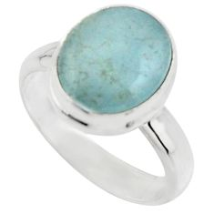 925 silver 4.93cts natural blue aquamarine solitaire ring jewelry size 7 r18197