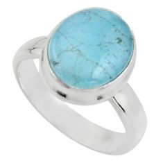 925 silver 4.93cts natural blue aquamarine oval solitaire ring size 7 r18200