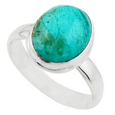 4.69cts natural green opaline 925 silver solitaire ring jewelry size 8 r18206