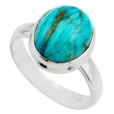 925 silver 4.93cts natural green opaline solitaire ring jewelry size 7.5 r18212