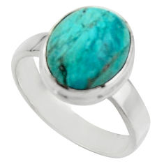 4.93cts natural green opaline 925 silver solitaire ring jewelry size 7.5 r18213