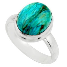 4.93cts natural green opaline 925 silver solitaire ring jewelry size 7 r18218