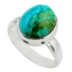 925 silver 4.90cts natural green opaline solitaire ring jewelry size 7 r18220