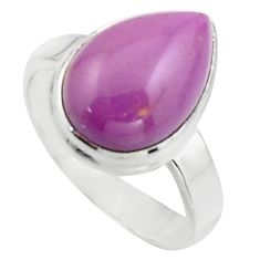 6.30cts natural purple phosphosiderite 925 silver solitaire ring size 7 r18222