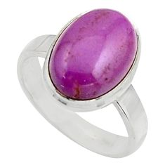 925 silver 6.31cts natural purple phosphosiderite solitaire ring size 8 r18240