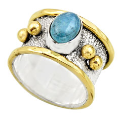 2.19cts victorian natural blue aquamarine 925 silver two tone ring size 7 r18447